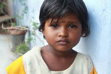 Portrait of Indian Village Poor Girl Wall mural