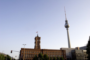Berlin: Rotes Rathaus and Fernsehturm