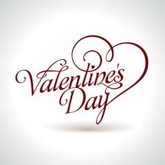 calligraphic Valentine's headline with heart