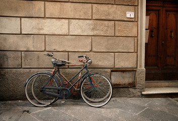 Wall Mural - Italian old-style bicyles in Lucca, Tuscany