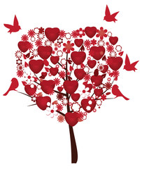 love tree with red hearts, flowers and birds