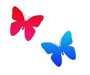 Papillon rouge bleu