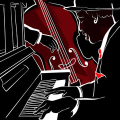 Wall Mural - Vector illustration of a Jazz piano and double-bass