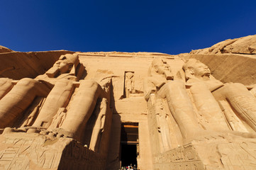 The colossi of Ramses at The Great Temple of Abu Simbel, Egypt