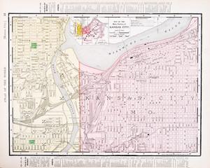 Vintage Color Street Map Kansas City Missouri and Kansas, USA