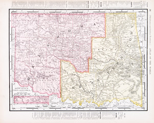 Antique Vintage Color Map of Oklahoma Indian Territory, USA