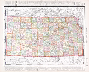 Antique Vintage Color Map of Kansas, KS, United States USA