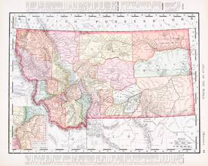 Antique Vintage Color Map of Montana, MT, United States, USA
