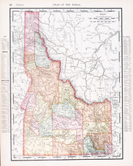 Antique Vintage Color Map of Idaho, ID, United States, USA