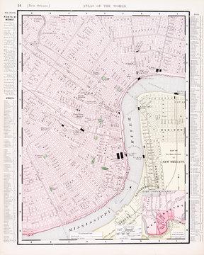 Detailed Antique Vintage Color Street City Map New Orleans, LA
