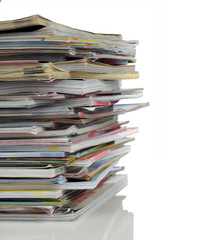shoot of stack of magazine over white background