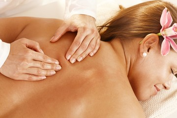 Closeup of back massage
