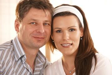 Closeup portrait of romantic couple