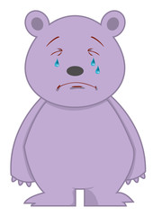 Crying Bear Cartoon Character Illustration Isolated White