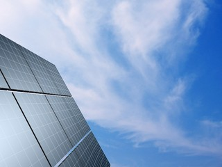 Solar panel against blue sky. Concept - echo energy.