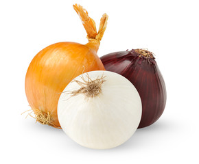 isolated onions. Three onion bulbs of different colors (red, yellow and white) isolated on white background