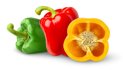 Isolated peppers. Three bell peppers of red, yellow and green color isolated on white background