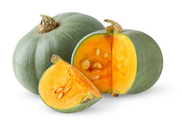 Isolated pumpkins. Two green pumpkins whole and cut isolated on white background