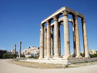 Ruins of Olympian Zeus temple, and Acropolis of Athens