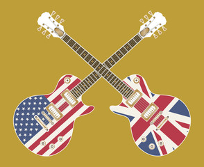 electric guitars with USA and UK flags