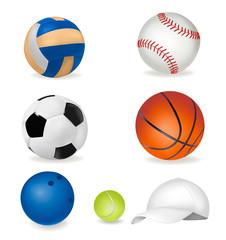 Set of sport balls and tennis cap. Vector