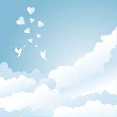 bird's love in blue sky with clouds and hearts
