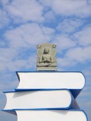 buddha statue on the books.