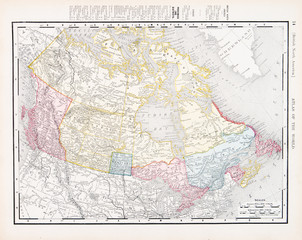 Antique Vintage Color Map of Canada, North America