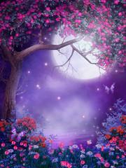 Obraz Łąka z kwiatami i kwitnącym drzewem - fototapety do salonu