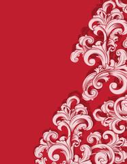 Blütenmuster auf rotem Hintergrund