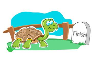 happy tortoise with finish stone