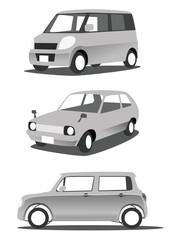 車のイラスト モノクロ 白バック
