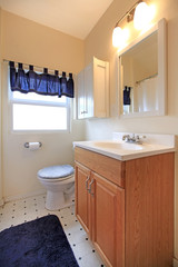 Bathroom with with simple cabinet and blue curtains