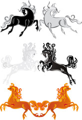 six color horses on white