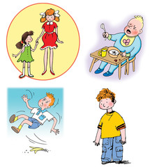 Some Hand drawn illustrations about children