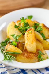 Baked potatoes with fresh herbs