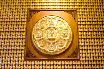 Million of golden Buddha statue in chainese temple Thailand