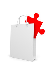 Shopping bag with puzzle