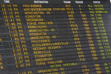 Departure Display at Boston Main Station (USA)