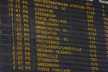 Departure Display at Boston Main Station