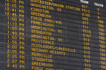 Departure and Arrival Display Boston Main Station