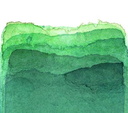 水彩による緑の抽象画