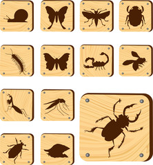 Set wooden buttons - 145_W. Insects