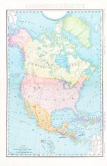 Antique Vintage Color Map of North America, Canada, Mexico, USA
