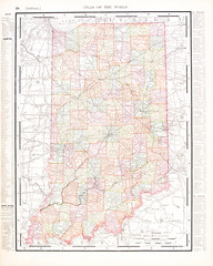 Antique Vintage Color Map of Indiana, United States