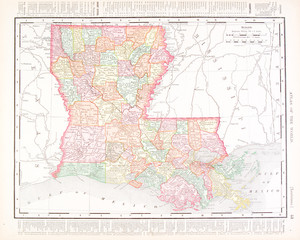 Antique Vintage Color Map of Louisiana, United States, USA