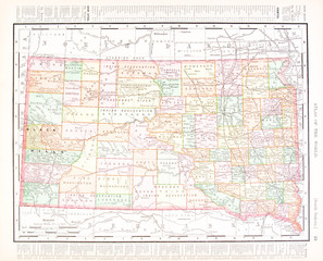 Antique Vintage Color Map of South Dakota, United States, USA
