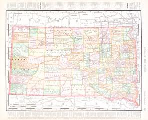 Antique Vintage Color Map of South Dakota, United States, USA