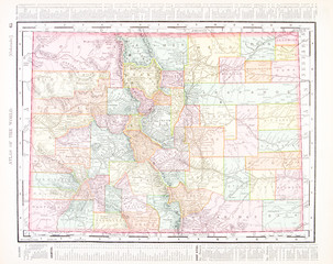 Antique Vintage Color Map of Colorado, United States, USA