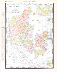 Antique Vintage Color English Map of Denmark and Iceland